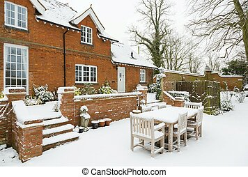 House, mansion in winter snow