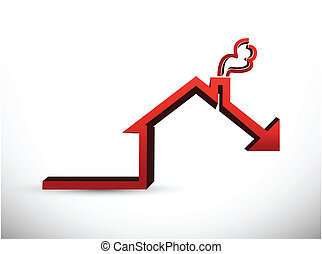 House market falling concept graph illustration