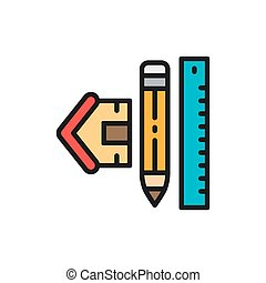 House measuring, measure tool for home, architectural plan flat color line icon.