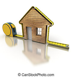 3D rendering of a tape measure in the shape of a house