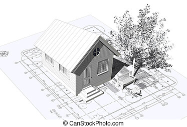 house model - 3D rendering of a house with garage on top of ...