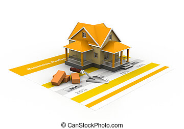 House model on a plan