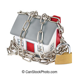 House model plastic with chain and padlock for security ...