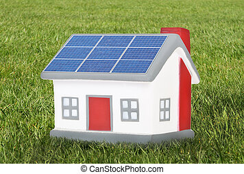 House model plastic with solar panels