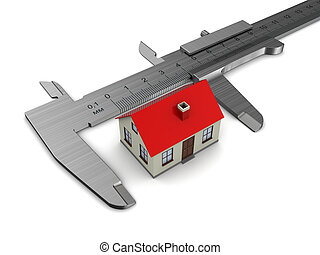 house model size - measuring house model, over white...