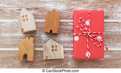 House model with gift box