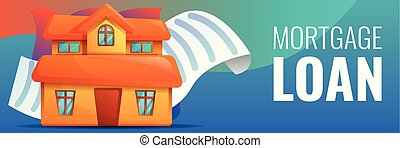 House mortgage concept banner, cartoon style