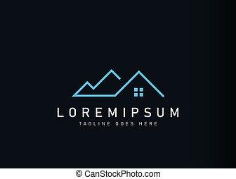 House mountain logo design. Vector illustration of minimalist villa house mountain icon design. Modern logo design with line art style.
