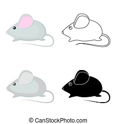 House mouse icon in cartoon style isolated on white background. Cat symbol stock vector illustration.