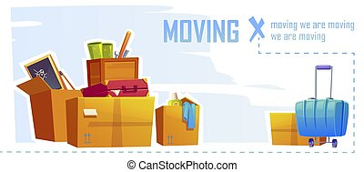 House moving banner with boxes and stuff