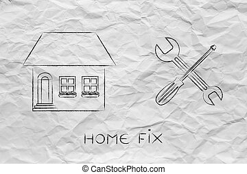house next to wrench and screwdriver icon, diy projects