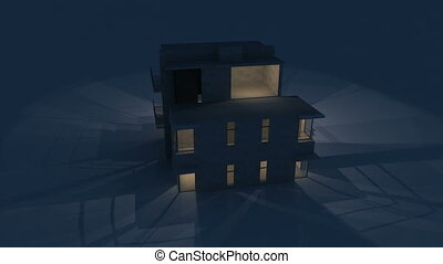 house night - Rendering of a modern house