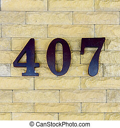 House number 407 - house number four hundred and seven.