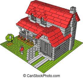 House of bricks, illustration, vector on white background.