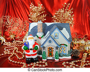 house of christmas card with Decorations