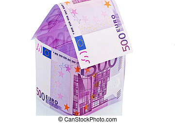 house of euro banknotes - a house built with money seem on a...