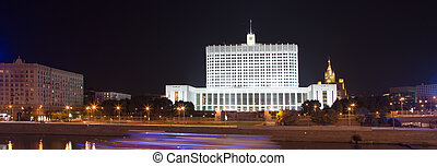 """House of Government in Moscow, Russia, at night. Inscription on the facade means """"House of the Government of the Russian Federation"""""""