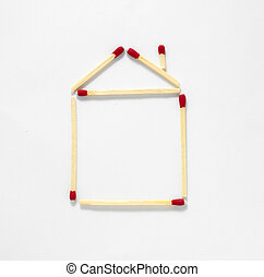 house of matches isolated on a white background