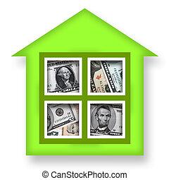House of Money - Green house or bank full of money over...