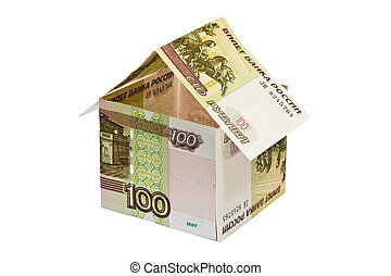 House of money - house made of rubles banknotes on white...
