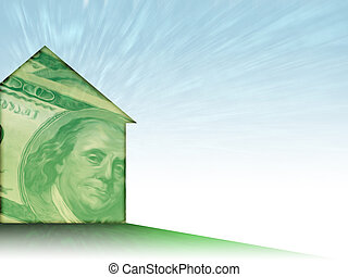 House of Money - Illustration of a house shape painted with...