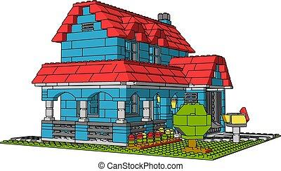 House of multicolor bricks, illustration, vector on white background.