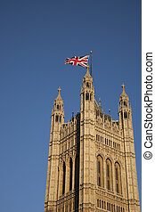 House of Parliament and Union Jack Flag, London, England, UK