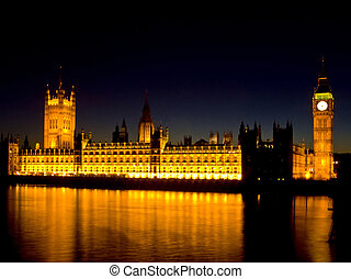Houses of parliament with Thames river reflection