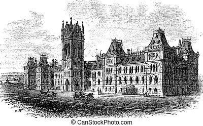 House of Parliament, Ottawa, Ontario, Canada, vintage engraved illustration. Trousset encyclopedia (1886 - 1891).