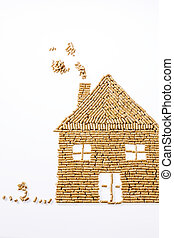 house of pellets for heating - a house was built from...