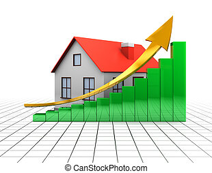 house of raising charts - abstract 3d illustration of house...