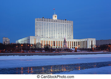 House of Russian Federation Government or White house in Moscow at evening