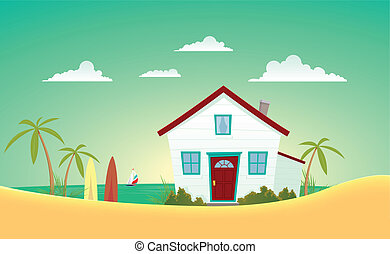 House Of The Beach - Illustration of a cartoon house near...