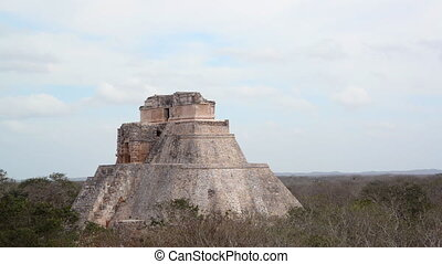 View of the House of the Magician in the Mayan ruins of Uxmal in Mexico