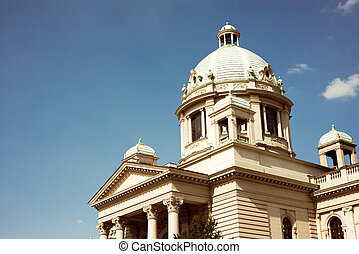 House of the National Assembly in Belgrade, Serbia. Color tone tuned