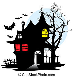 Halloween night, demonic house of vampire, vector illustration.