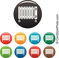 House oil radiator icons set color