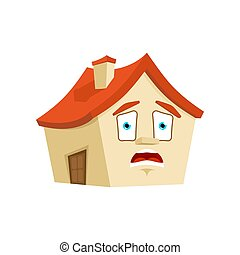 House OMG emotion isolated. Scared Home Cartoon Style....