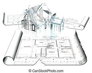 House on a blueprint