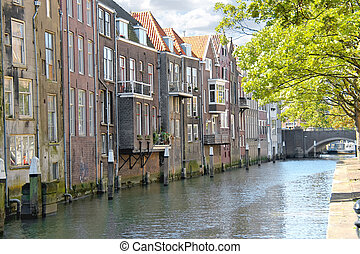 House on a canal in Dordrecht, Netherlands