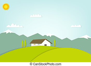 house on a hill on background of mountains