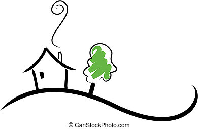 Simple illustration of a house on a hill