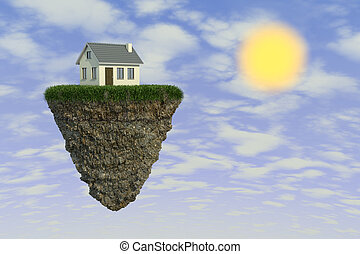 house on a rock - rock suspended in space, with a house....