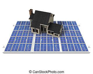 House on a solar panel