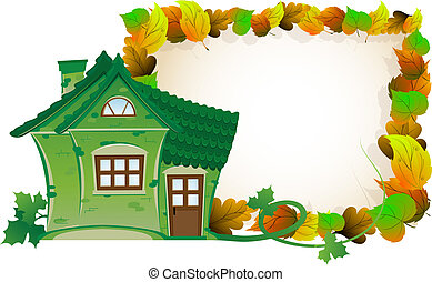 House on background of autumn leaves - House with tiled roof...