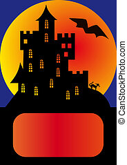 house on background of the moon and stars on holiday halloween