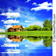 House on blue sky