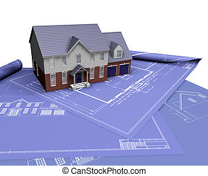 House on blueprints - 3D render of a house on blueprints