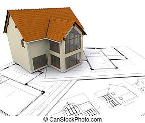 House on blueprints - Modern house on blueprints