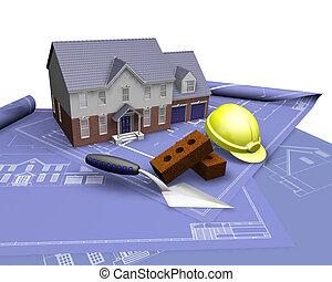 House on blueprints - 3D render of a house on blueprints...